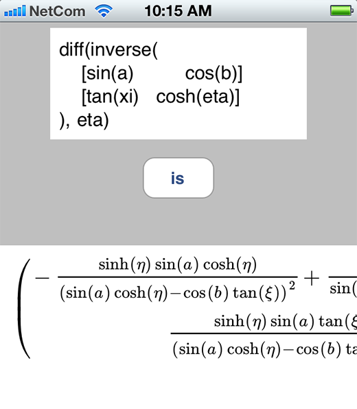 Differentiating the inverse of a matrix on the iPhone.