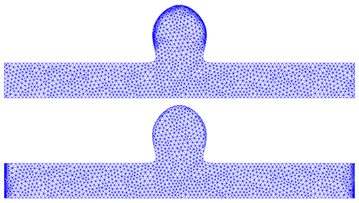 Optimal meshes when optimising for shear (top) and normal (bottom) stresses.
