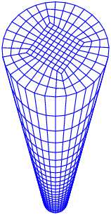 A representative mesh used in the finite element calculations.