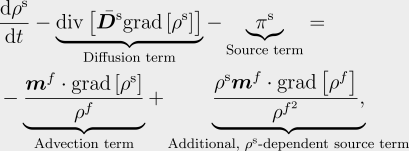The solute transport equation in classical, stabilisable form.